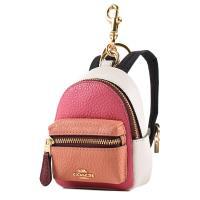 COACH 背包造型撞色荔枝紋皮革零錢包/鑰匙圈/掛飾