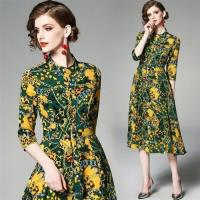 【M2M】質感優雅綠色鎖鏈印花洋裝M-3XL