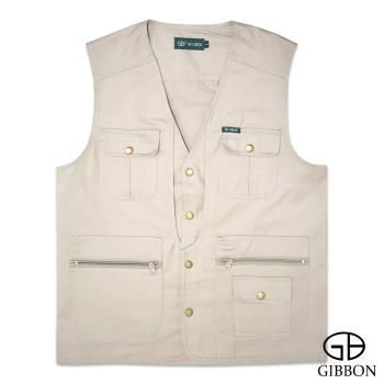 GIBBON 純棉多口袋背心外套‧卡其