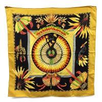HERMES 巴西花卉圖案印刷駝黃色90公分方形絲質大披肩(展示品)