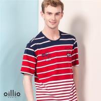 oillio歐洲貴族 男裝 透氣乾爽圓領T恤 舒適彈性 棉衣料 紅色-男款 上衣 服飾 吸濕 排汗 透氣 萊卡彈性 彈力 自然棉 男上衣 Tshirt