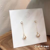 【Sayaka紗彌佳】925純銀環繞相伴簡約百搭氣質長款鋯石珍珠垂墜耳環