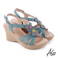 A.S.O 挺麗氣墊 俏麗撞色拼接全真皮抗菌奈米鞋墊楔型涼鞋- 綠色