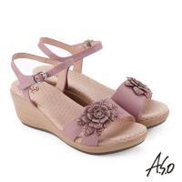 A.S.O 挺麗氣墊 立體花卉全真皮抗菌奈米鞋墊楔型涼鞋- 粉紅
