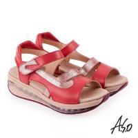 A.S.O 超能力 金箔亮麗拼接皮革輕量奈米鞋墊休閒涼鞋- 桃粉紅