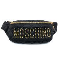 【MOSCHINO】菱格縫線品牌logo黑尼龍腰包/斜背包(金鉚釘款)