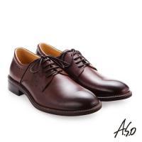 A.S.O職人通勤 綁帶蠟感牛皮紳士鞋-咖啡