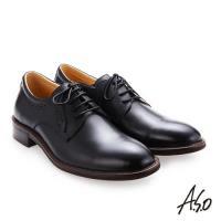 A.S.O職人通勤 綁帶蠟感牛皮紳士鞋-黑