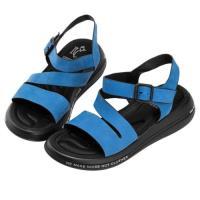 Robinlo 輕量動感牛皮彈力軟墊涼拖鞋 MORGAN-藍色