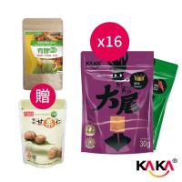KAKA大尾魷魚餅16包 贈 日森製藥-有效排空+康健生機 有機甘栗仁100g