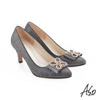 A.S.O 璀璨宴會 精緻鑽飾金箔羊皮高跟鞋-黑