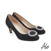 A.S.O 璀璨宴會 圓鑽釦裝飾金箔羊皮高跟鞋-黑