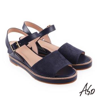 A.S.O 希臘渡假 全真皮質感楔型涼拖鞋 深藍