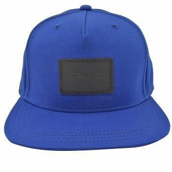 COACH 33774 方塊壓印LOGO 全棉質棒球帽.藍