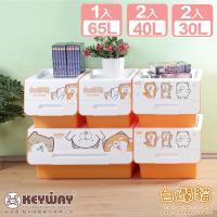 真心良品X白爛貓 小家庭直取系統式整理箱5入組