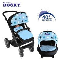 【荷蘭DOOKY】抗UV萬用推車遮陽罩-粉藍底星星