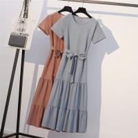 【KVOLL】純色圓領腰蝴蝶結綁帶洋裝XL-5XL(共二色)