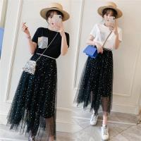 【KVOLL】休閒時尚亮片設計網紗裙+T恤XL-5XL(共二色)