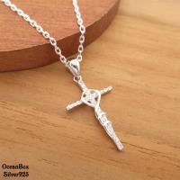 【海洋盒子】神聖守護鑲嵌鋯石十字架.925純銀單墜