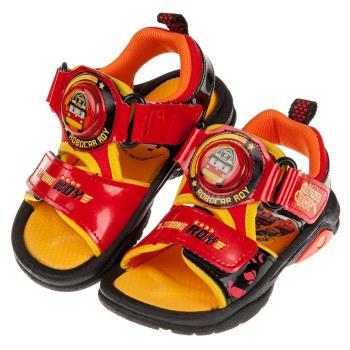 《布布童鞋》POLI救援小英雄羅伊紅色全開兒童電燈涼鞋(15~19公分) [ B9M122A ]