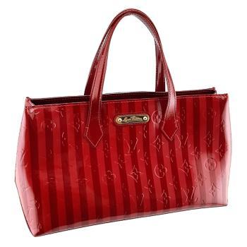 LV M91702 條紋櫻桃紅色漆皮手提托特包(展示品)