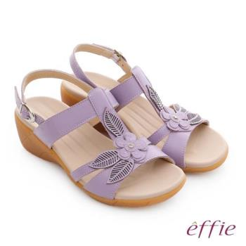 effie 趣踏輕 真皮拼接花飾寬楦釦環楔型涼拖鞋- 淺紫