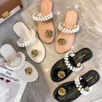 【Alice 】 (預購) 親膚珍珠新款夏季韓版羅馬涼拖鞋