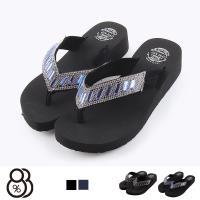 【88%】涼拖鞋-前1.5後3.5cm MIT台灣製 華麗水鑽亮片鞋面 厚底楔型 夾腳人字拖鞋