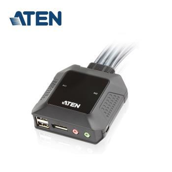 ATEN 2埠USB DisplayPort帶線式KVM (CS22DP)