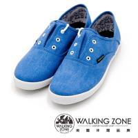 WALKING ZONE果漾YOUNG純棉帆布鞋休閒鞋 女鞋-藍(另有黑/白/粉/淺藍)