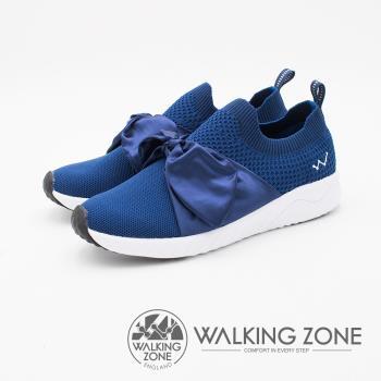 WALKING ZONE Daymark天痕戶外W系列 (夢幻緞帶蝴蝶結) 飛線編織 女鞋-深藍