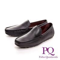 PQ 極簡車縫休閒百搭 男皮鞋-素面黑(另有素面咖)
