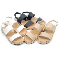 【cher美鞋】 MIT雙一字舒適彈性鞋底平底涼鞋-黑色/白色/米色 36-40碼 08070131835-18
