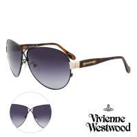 Vivienne Westwood 英國薇薇安魏斯伍德時尚交叉水銀鏡面太陽眼鏡-氣質款- 黑/琥珀   AN764E02