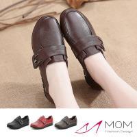【MOM】真皮頭層牛皮舒適圓頭軟底魔鬼粘防滑休閒鞋(2色任選)