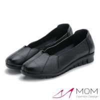 【MOM】真皮頭層牛皮花邊鞋口軟底平底單鞋(黑)