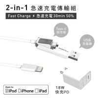GDMALL 蘋果傳輸快充組 -1.2米 TYPE-C對 Lightning快充傳輸線 x  專利USB接頭 x  18W PD 3.0 充電器