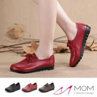【MOM】真皮頭層牛皮經典圓頭綁帶舒適防滑休閒鞋(3色任選)
