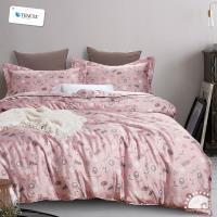 幸福晨光- 100%頂級天絲雙人加大四件式舖棉兩用被床包組- 粉狐之歌