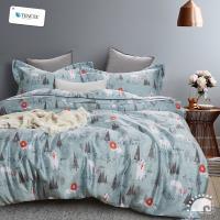 幸福晨光- 100%頂級天絲雙人加大四件式舖棉兩用被床包組- 林語牧歌
