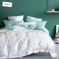 幸福晨光- 100%頂級天絲雙人加大四件式舖棉兩用被床包組- 青衫漫雨