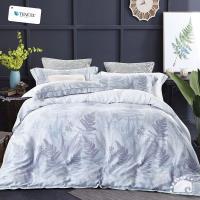 幸福晨光- 100%頂級天絲雙人四件式舖棉兩用被床包組- 夢飛靜葉
