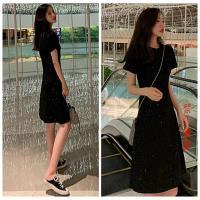 零國界衣店 S-XL 短袖亮片顯瘦修身連衣裙