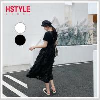 連身裙 圓領拼接蕾絲短袖洋裝PV9083-創翊韓都