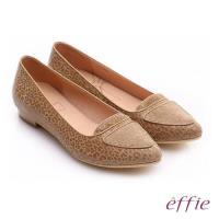 effie 繽紛舒適 真皮動物紋尖楦低跟鞋- 卡其