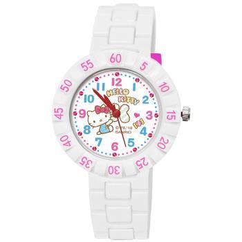 【SANRIO 三麗鷗】 數字轉圈兒童手錶 - Hello Kitty 時髦凱蒂貓 34mm 白色
