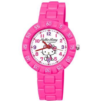 【SANRIO 三麗鷗】 數字轉圈兒童手錶 - Hello Kitty 側坐 凱蒂貓 34mm 桃紅色