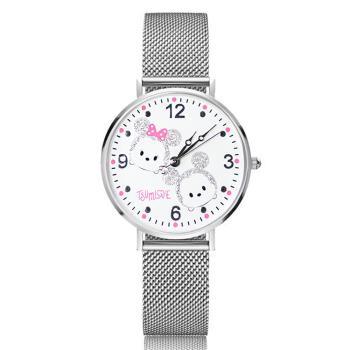 【Disney迪士尼】中型超薄鏡面手錶 - Tsum Tsum 米奇米妮 米蘭錶帶  (銀粉特殊設計)