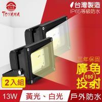 TOYAMA特亞馬 超勁亮戶外防水LED投射燈13W 2入組(白光、黃光任選)
