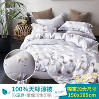 Betrise一枝獨秀 頂級100%天絲TENCEL鋪棉涼被5X6.5尺-加碼贈天絲對枕套
